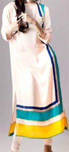 Ladies Casual Suits White Mixed Cotton Kurta