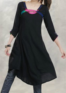 Ladies Casual Suits Black Cotton Native Kurta