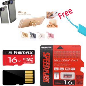 Original16 GB Remax Speed Flash Class 10 +Camera Lens + Mobile Ring Stand