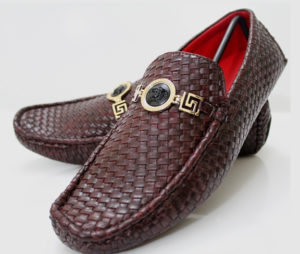 Versase Textured Red Wine Men's Shoes